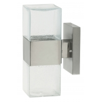 Aplica cubica inox IP44 cu bec LED inclus si sticla cu bule, Lienz 8787