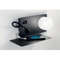 Lampa de citit etajera cu USB, LED reader si 2 intrerupatoare, Book-1 Ap2 Nero 174808