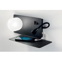 Lampa de citit etajera cu USB, LED reader si 2 intrerupatoare, Book-2 Ap2 Nero 174846