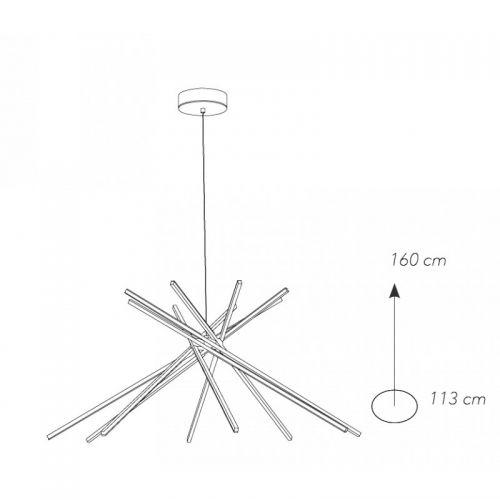 Lustra LED SHANGHAI NERO 50W 3000lm 4000K, H:70-160cm