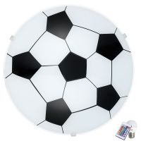 Plafoniera cu telecomanda LED RGB copii Eglo Junior 1 fotbal, 24,5 cm