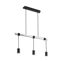 Suspensie LED vintage TOWNSHEND, negru/crom, 3 becuri, L:100cm