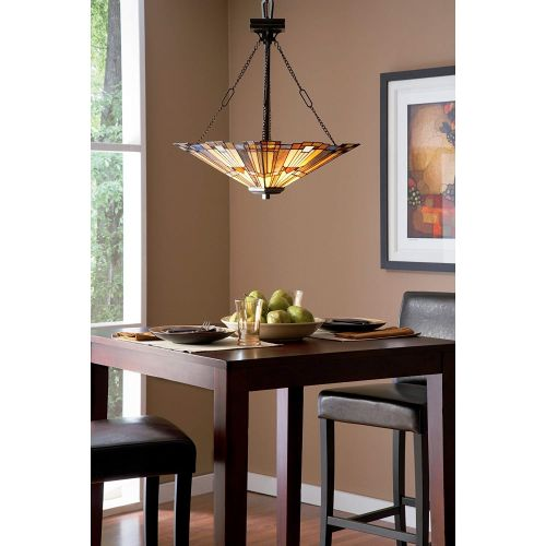 Candelabru Tiffany INGLENOOK, bronz, 3xE27, D:45cm, H:75-221cm
