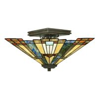 Plafoniera INGLENOOK Tiffany, bronz, H:20.3cm, 2 becuri