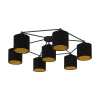 Plafoniera moderna neagra cu 7 abajururi textile negru/auriu STAITI
