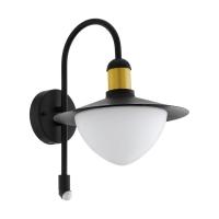 Aplica exterior cu senzor SIRMIONE, E27, negru/auriu, H:37,5cm