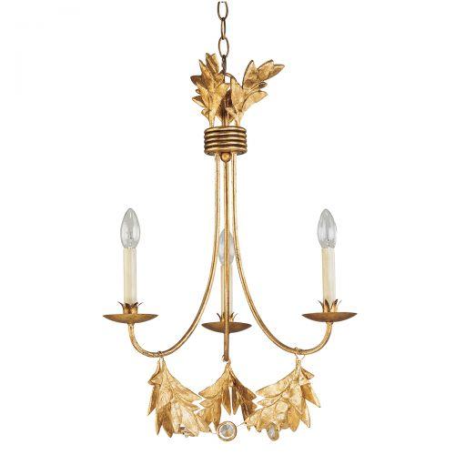 Candelabru ramuri de maslin SWEET OLIVE, auriu, H:72-258cm, 3 becuri