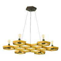 Candelabru design hexagonal MOXIE, auriu, H:30-310cm, 6 becuri