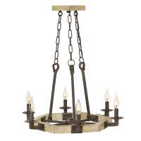 Candelabru rustic fier forjat WYATT, ruginiu, H:203cm, 6 becuri