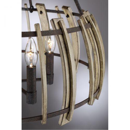Candelabru de ferma din lemn vintage-rustic WOOD HOLLOW, 5 becuri
