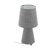 Veioza birou textil gri 2xE27 CARPARA, H:34cm