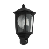 Lampa LED de exterior cu senzor de miscare Manerbio, neagra, clasica