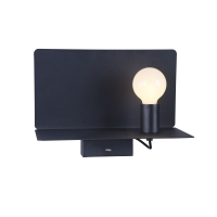 Aplica cu raft metalic si port USB Maytoni Rack, neagra, E27 60W