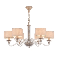 Lustra living clasica Maytoni Maryland, gri, 6xE14 40W, H:42-142cm