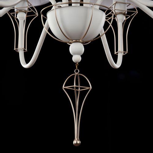 Lustra living clasica Maytoni Frame, alba, 6xE14 40W, H:62-155cm