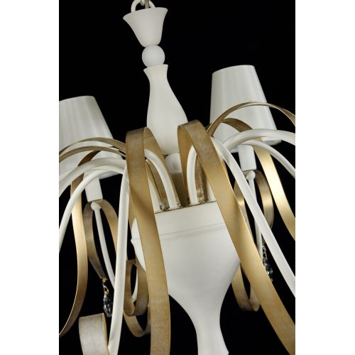 Candelabru clasic sofisticat Maytoni Intreccio, alb, 10xE14 40W, H:70-110cm