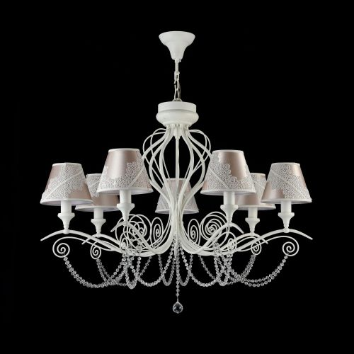 Lustra living clasica Maytoni Lucy, alba, 7xE14 40W, H:64-119cm