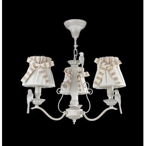 Lustra dormitor clasica Maytoni Bird, alba, 3xE14 40W, H:37-87cm