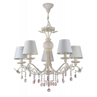 Lustra living clasica Maytoni Fiona, roz, 5xE14 40W, H:69-113cm