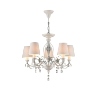 Lustra sufragerie clasica Maytoni Floret, alba, 5xE14 40W, H:50-143cm
