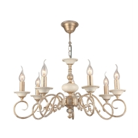 Lustra sufragerie clasica Maytoni Perla, aurie, 7xE14 60W, H:37-87cm