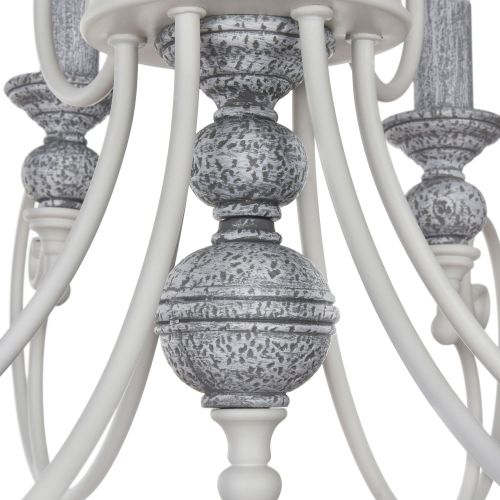 Lustra sufragerie clasica Maytoni Karina, alba, 6xE14 60W, H:51-144cm