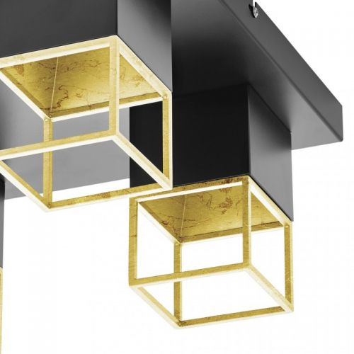 Plafoniera LED moderna negru-auriu MONTEBALDO, 4xGU10-LED, alb cald