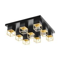 Plafoniera LED moderna negru-auriu MONTEBALDO, 9xGU10-LED, alb cald