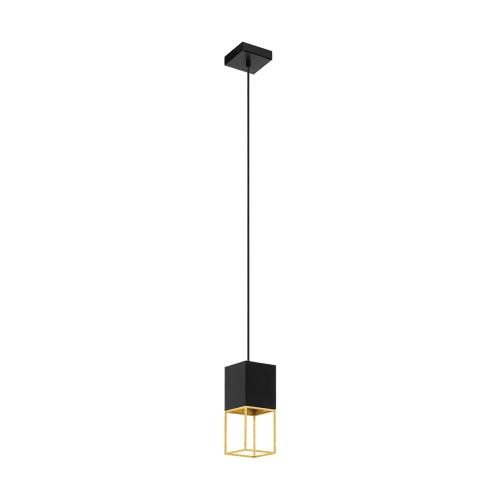 Pendul LED modern negru-auriu MONTEBALDO, 1xGU10-LED, alb cald