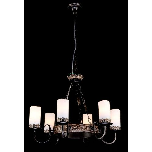 Lustra sufragerie fier forjat Maytoni Palazzo, maro, 6xE14 60W, H:53-73cm