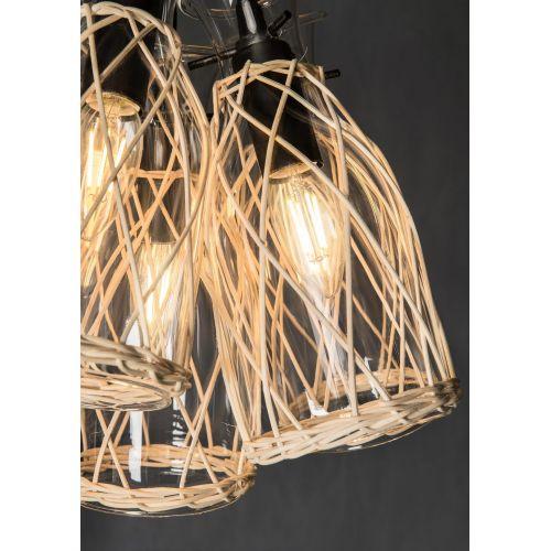Lustra lemn ratan rustica Maytoni Rappe, negru, 5xE14 40W, H:31-100cm