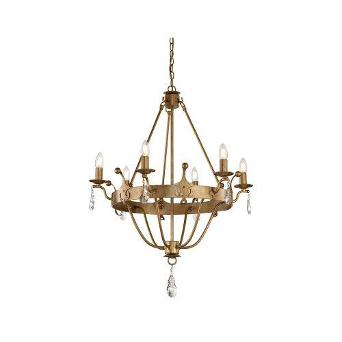 Candelabru fier forjat cu cristale WINDSOR, auriu, H:107-258cm, 6 becuri