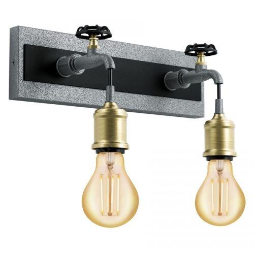 Aplica in stil industrial cu doua robinete metalice Goldcliff, 2xE27, L:35cm