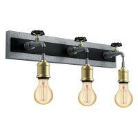 Aplica in stil industrial cu trei robinete metalice Goldcliff, 3xE27, L:55cm