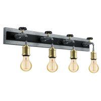 Aplica in stil industrial cu patru robinete metalice Goldcliff, 3xE27, L:75cm