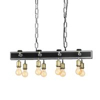 Suspensie in stil industrial cu opt robinete metalice Goldcliff, 8xE27, L:84cm