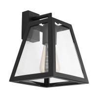 Aplica tronconică stil industrial vintage Amesbury, E27, neagră cu abajur de sticlă transparentă