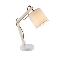 Lampa de birou lemn Mattis 21510, textil alb