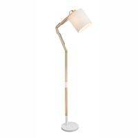 Lampadar de podea lemn Mattis 21510S, textil alb