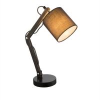 Lampa de birou lemn maro Mattis 21512, textil gri