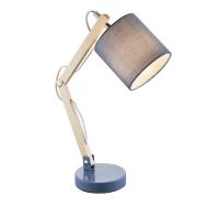Lampa de birou lemn Mattis 21514, textil albastru
