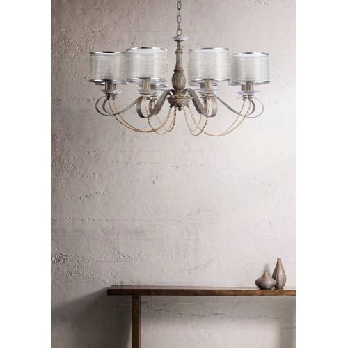 Lustra living clasica Maytoni Cable, crem, 8xE14 40W, H:54-133cm