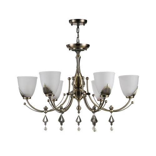 Lustra dormitor clasica Maytoni Basil, bronz, 6xE14 60W, H:60-147cm
