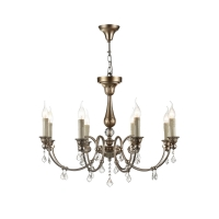 Lustra living clasica Maytoni Francis, aurie, 8xE14 60W, H:61-156cm