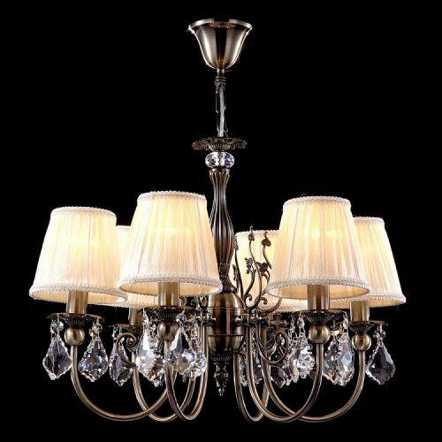 Lustra dormitor clasica Maytoni Latona, bronz, 6xE14 40W, H:53-97cm