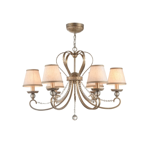 Lustra living clasica Maytoni Livorno, aurie, 6xE14 40W, H:63-157cm