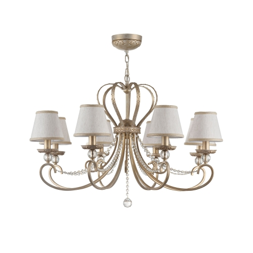 Lustra sufragerie clasica Maytoni Livorno, aurie, 8xE14 40W, H:68-161cm