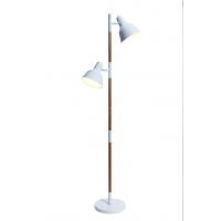 Lampadar Roilux Albi 2L/S, E14, 2x40W, Alb mat-Lemn maro