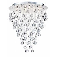 Plafoniera living cristal Maytoni Rockfall, nichel mat, 9xG9 40W