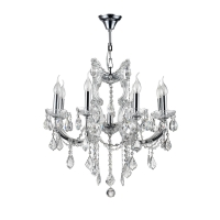 Lustra living cristal Maytoni Inverno, argintie, 9xE14 40W, H:65-99cm